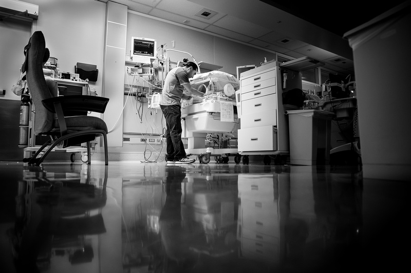 Father meets son in the neonatal intensive care unit.